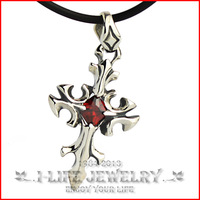 Fashion Jewelry 925 Sterling Silver Male Antique Ruby Cross Silver Clasp Leather Mini Pendant Necklces Gems Setting