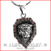 Fashion Jewelry 925 Sterling Silver Boy Antique Ruby Tiger Shield Jewelry Factory Pendants Necklaces without Setting