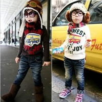 2013 autumn cartoon  kids boy girls clothing / tshirt , cotton tshirt ; long-sleeve , 2color 5size 5/lot free shipping