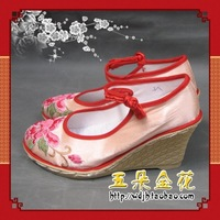 Embroidered shoes incarcerators satin machine embroidery 7 beige plastic wedges
