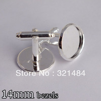 silver plated 100piece/lot 14mm cabochon setting cameo base cufflinks findings blank jewelry bezels
