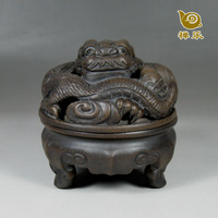 Purple sandalwood furnace purple incense burner plate incense burner buddhism supplies cutout fortune dragon incense burner