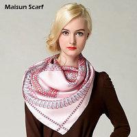 Free shipping  real silk  90x90cm muslim hijab square