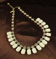 Wholesale Glass Crystal White Square Stone Rhinestone Chokers Statement Necklace Fashion Designer Jewelry 2013  Free Shipping