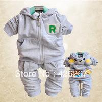 Hoe sale girls boys suit spring autumn wear Lovely bear velvet suit for children's fashionable casual sets kid's sports suit
