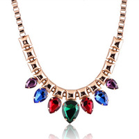 Popular fashion accessories fashion multicolour gem drop short necklace chain accessories 9047