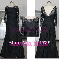 Free Shipping Real Sample Blacck Taffeta Formal Simple Elegant Plus Size Floor Length A Line Crystal Long Sleeve Evening Dress