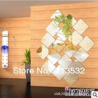 Hot Selling 10pcs/lot Free shipping 15cm*15cm 3D wall stickers Mirror child real embossed square home decor 100