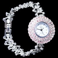 Free Shipping Antique Silver Crystal Rhinestone Women Girls'Lady Alloy Quartz Adjustable Wrist Watch Fashion Brac  902660-W-0058