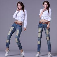 Hot-selling 2013 blue mid waist street patch denim trousers women's jeans