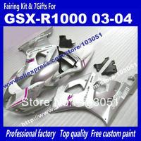 Customize body work fairings for SUZUKI GSX-R 1000 03 04 GSXR1000 GSX R1000 2003 2004 purple in silver fairing set ai19+7gits