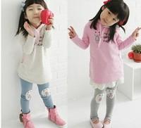 Free shipping TT08 Sweater Boy suit cartoon cat sweater + leggings girls suit children suit