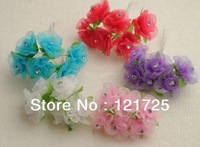 Free Shipping Satin Flowers Mini artificial Flower 5 Colors Hand Made Small Wedding Bouquet Scrapbooking Decor