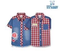 HOT NEW KK RABBIT design Boy denim shirt red plaids fashion design shirt short sleeves FREE shipping