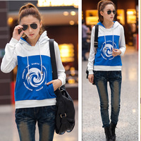 Autumn women's print hooded drawstring loose street long-sleeve casual sweatshirt