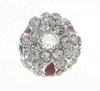 Free shipping!!!Rhinestone Jewelry Beads,Gift, Round, with rhinestone, silver, 10mm, Hole:Approx 2mm, 20PC/Bag, Sold By Bag