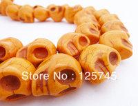 Best price on aliexpress 16pcs/strand 10strand/lot Orange Skull Turquoise Beads 18*25mm.