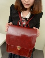 Fashion small gentlewomen fresh preppy style vintage Wine red backpack