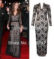 Brand New plunge V neck Full Lace Black/Cream Contrast Long Sleeve Maxi Dress EDM-0146 Black evening Dress