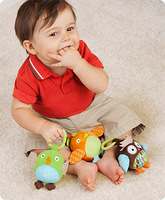 Infant baby educational early learning 3 Owl Birds animal rings bell Plush toy Good Quality from USA high quality