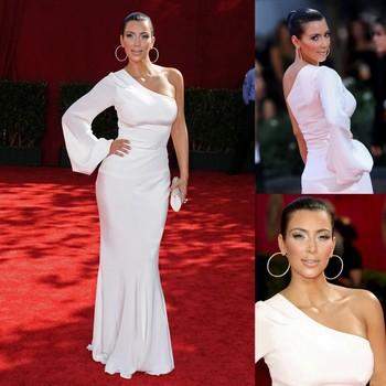 Kim Kardashian One Shoulder One Side With Long Sleeve Red Carpet White Chiffon Celebrity Dresses New Fashion 2013