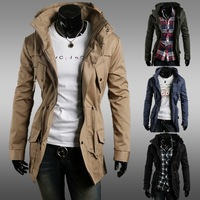 Free Shipping !!Men's jackets Men's long coat casual jacket  Big size M-XXL