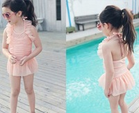 2013 ploughboys child swimwear female child lace one-piece dress swimwear baby 3 - 10 hooded