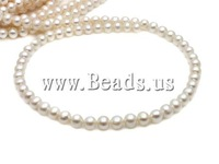 Free shipping!!!Round Cultured Freshwater Pearl Beads,Punk Style, natural, white, A, 6-7mm, Hole:Approx 0.8mm, Length:15.5 Inch