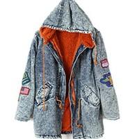 Free Shipping Winter fashion vintage water wash slim waist drawstring loose casual hood denim jean jacket coats women new 2013