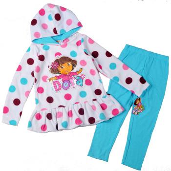 2013 Hotsale New Arrival Autumn Dora Clothing Branded Fashion Girls Clothes 2Pcs Dot Fleece Jacket +Blue Pants Children Costumes