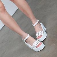 Thick heel platform button belt open toe sandals  -01