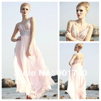 Elegant Spaghetti Strap Chiffon Pink Prom Dress Evening Gown with Beads and Crystals Party Dress long for Women 2013