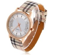 2014 New Fashion Leather Strips Hour Marks Grid Wristywatches Women Dress Watch Ladies Clock Military Watch HOT SALE