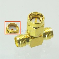 SMA male to two SMA female triple T in series RF adapter connector 3 way