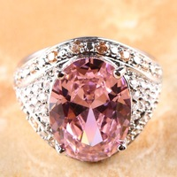 OVAL CUT PINK & WHITE TOPAZ CITRINE SILVER RING SIZE 8 R1-08393