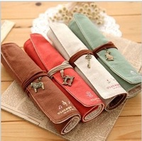 Korea stationery box roll pencil case canvas pen curtain elegant cosmetic bag pencil case