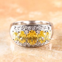 OVAL CUT CITRINE & WHITE TOPAZ  SILVER RING SIZE 8  R1-08320