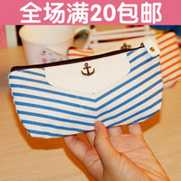 Korea stationery a4001 navy style canvas pencil case lozengy stripe stationery bags office stationery supplies