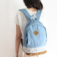 denim lace backpack casual bag school bag travel bag for girl