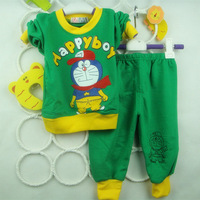 Wholesale!2013 autumn boy&girl baby child clothing t shirt pants set  long-sleeve T-shirt trousers suit clank cat