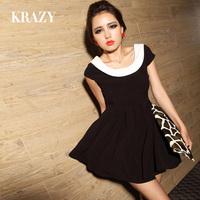 Krazy2013 spring fashion vintage pleated skirt color block dress racerback high waist princess one-piece dress 336