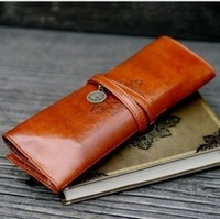 Leather pencil bag large capacity vintage strap type male stationery bags
