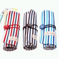Korea stationery fresh stripe canvas roller shutter pencil case pen curtain stationery bags portable cosmetic bag