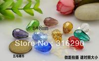 500pcs/lot  Fashion Crystal Quartz Teardrop Beads 6*8mm glass crystal Bicone loose Beads Free Shipping