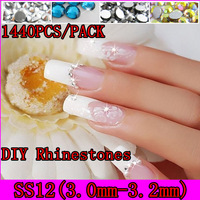 [GMT-SS12]Free Shipping 31 Colors To Choose 1440pcs/pack(One Color), SS12 Size(APP 3.0-3.2mm) Crystal Flat Nail Art Rhinestones