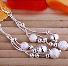 LOSE MONEY ITEM Long Silver 925 E006 earrings silver plated Bead/ball/pearl drop earrrings For woman Fashion Dangle earrings(China (Mainland))