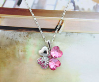 FREE SHIPPING 1PCS Rose Red Crystal Lucky Clover Pendant Chain Necklace #23268