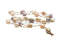 Free shipping!!!Natural Freshwater Pearl Necklace,tibetan, Cultured Freshwater Pearl, with 18K Gold, Round, natural