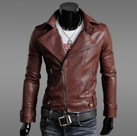 2014 New Fashion Short Design Motorcycle Leather Clothing Stand Collar Slim Male Leather Coat Oblique Zipper Jacket in Stock