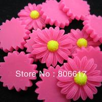 Free Shipping 150 Pcs Fuchsia Daisy Flower Resin Flatback Cabochon Embellishment Scrapbook DIY Phone Decoration 23mmDia(W02421F)